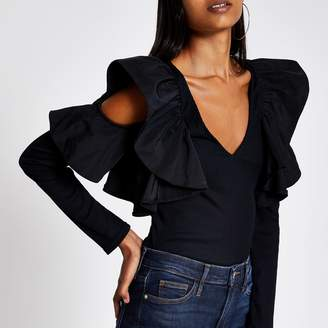 River Island Womens Black frill V neck cold shoulder ribbed top