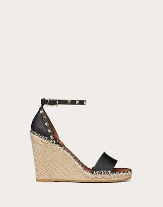 Valentino Grain Calfskin Leather Rockstud Double Wedge Sandal 95mm Women Bright Cognac/poudre Calfskin 100% 39