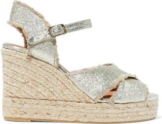Castaner Bromelia Frayed Metallic Canvas Wedge Espadrille Sandals