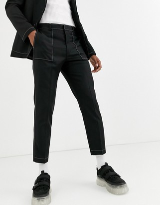Asos Design DESIGN slim crop suit trousers in black with contrast white stitch detail