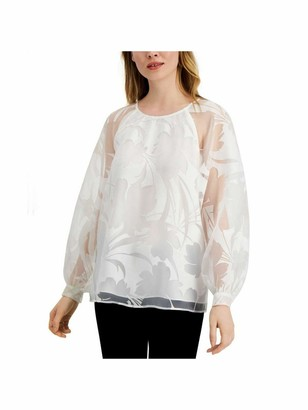 Alfani Womens White Sheer Solid Long Sleeve Jewel Neck Top UK Size:4