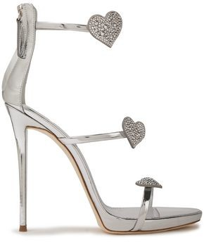 Giuseppe Zanotti Coline 110 Crystal-embellished Mirrored-leather Sandals