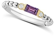 Lagos 18K Gold & Sterling Silver Amethyst & Diamond Stacking Ring