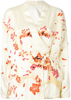 MHI embroidered wrap jacket - women - Silk - 6
