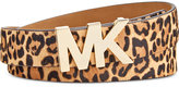 MICHAEL Michael Kors Leopard-Print MK Plaque Belt