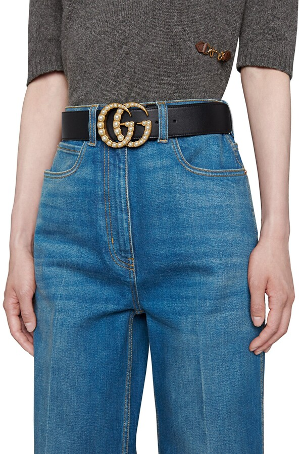 Thumbnail for your product : Gucci Leather belt with pearl DoubleG
