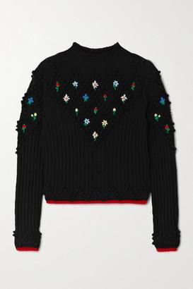 Philosophy di Lorenzo Serafini Embroidered Wool Sweater - Black
