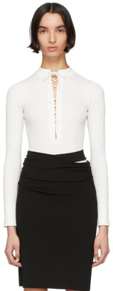 Kiki de Montparnasse White Deep V Lace-Up Bodysuit