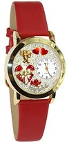 Whimsical Watches Women's C1226001 Classic Gold Valentine's Day Red Red Leather And Goldtone Watch
