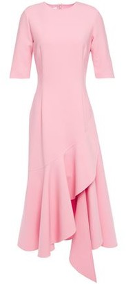 Oscar de la Renta Asymmetric Wool-blend Cady Midi Dress