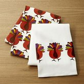 Crate & Barrel Cheerful Turkeys Dish Towels, Set of 2