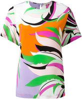 Emilio Pucci leaf print top - women - Silk - 42