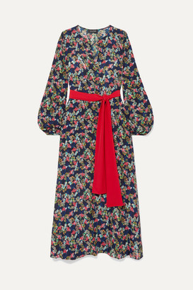 Saloni Lucia Belted Printed Silk Crepe De Chine Maxi Dress - Navy
