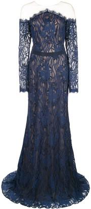 Tadashi Shoji tulle-panelled lace gown