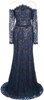 Tadashi Shoji Tulle-Panelled Lace Gown