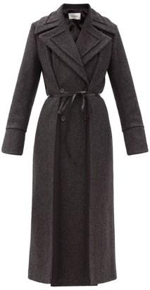 Valentino Silk-insert Wool-blend Herringbone Coat - Grey