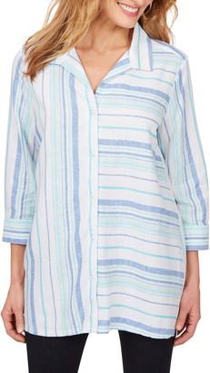 Foxcroft Santino Bahama Stripe Tunic Shirt