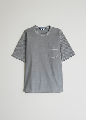Junya Watanabe Men's Pocket T-Shirt in Black/White, Size Small | 100% Cotton