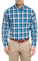 Cutter & Buck Men's Big & Tall Blue Lake Regular Fit Plaid Sport Shirt