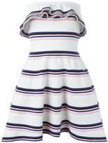 MSGM stripe ruffle dress - women - Cotton/Polyamide/Spandex/Elastane - M