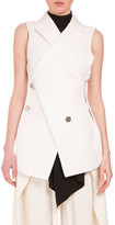 Proenza Schouler Asymmetric Button-Front 2-In-1 Vest, Off White