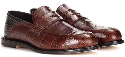 Loewe Embossed leather loafers