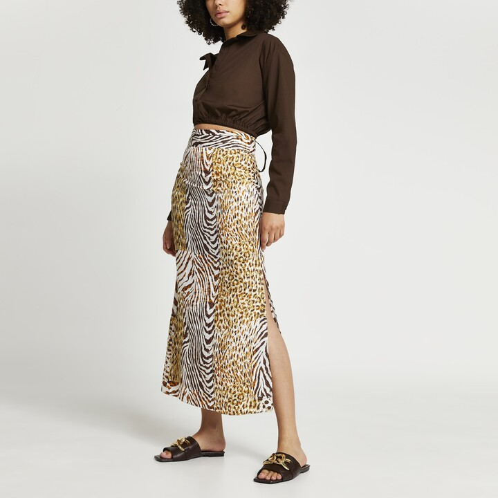 Thumbnail for your product : River Island Womens Brown animal print maxi pleat skirt