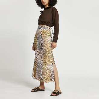River Island Womens Brown animal print maxi pleat skirt