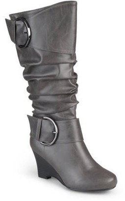 Brinley Co. Women's Extra Wide Calf Buckle Tall Faux Leather Boots