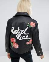 Asos Leather Biker Jacket In Black With Rebel Rose Back Print
