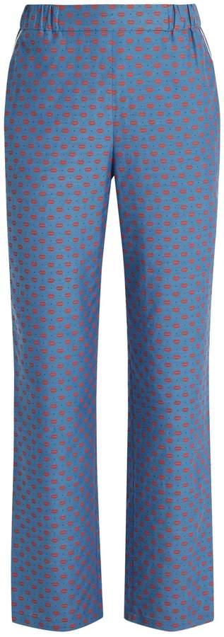 Muveil Lip-print straight-leg trousers