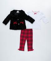 Mini Muffin Black & Red Faux Fur Coat Set - Infant