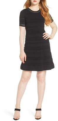 Chelsea28 Pointelle Fit & Flare Sweater Dress