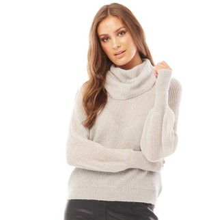 Brave Soul Womens Harriton Cowl Neck Knitted Jumper Cloud Grey