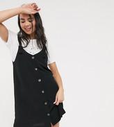 Monki Nea sleeveless button through dress in black