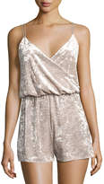 Romeo & Juliet Couture Crushed Velvet Romper, Gray