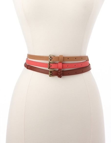 Charlotte Russe Braided, Solid & Studded Belt Trio