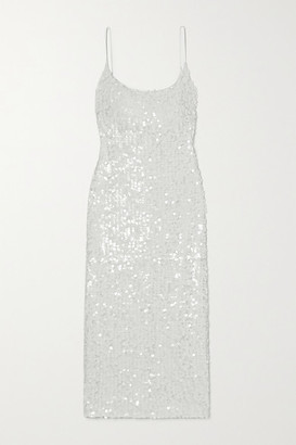 Galvan Mykonos Sequined Metallic Tulle Midi Dress - White