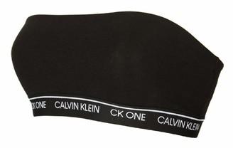 Calvin Klein Womens Cotton Bandeau Bikini Top Crew Neck Strapless Black 001 12 (M)