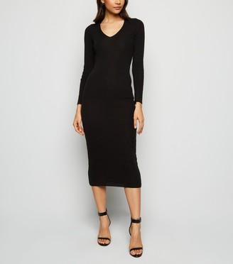 New Look Carpe Diem Knit Tie Back Midi Dress