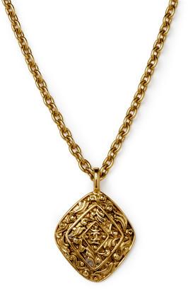 Chanel Vintage Intricate Motif Diamond Logo Pendant Necklace