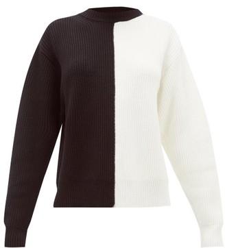 Vaara Eliza Bi-colour Ribbed Wool Sweater - Womens - Black White