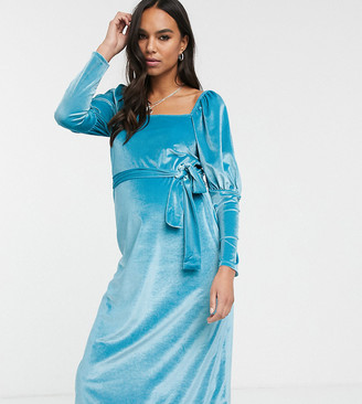 ASOS DESIGN Maternity Exclusive square neck puff sleeve velvet midi dress