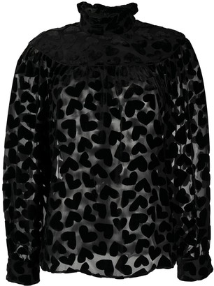 Saint Laurent Velvet Heart Blouse