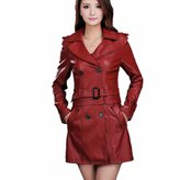 DreamMa Women Dual Use Pu Removable Ladies Faux Synthetic Long Leather Trench Coat