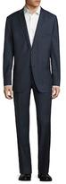 Saks Fifth Avenue Wool Chambray Trim Fit Notch Lapel Suit