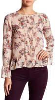 Jolt Floral Ruffle Hem Bell Sleeve Pintuck Front Blouse