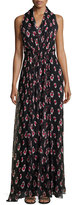 Carolina Herrera Sleeveless Halter-Neck Printed Gown, Black/White/Pink
