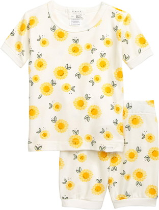 Petit Lem Firsts Sunflower Print Fitted Two-Piece Pajamas