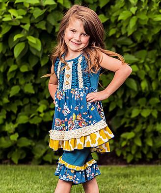 Lulu Ruffles By Tutu And Ruffles by Tutu and Girls' Casual Dresses - Cobalt Floral Ruffle Dress & Shorts - Toddler & Girls